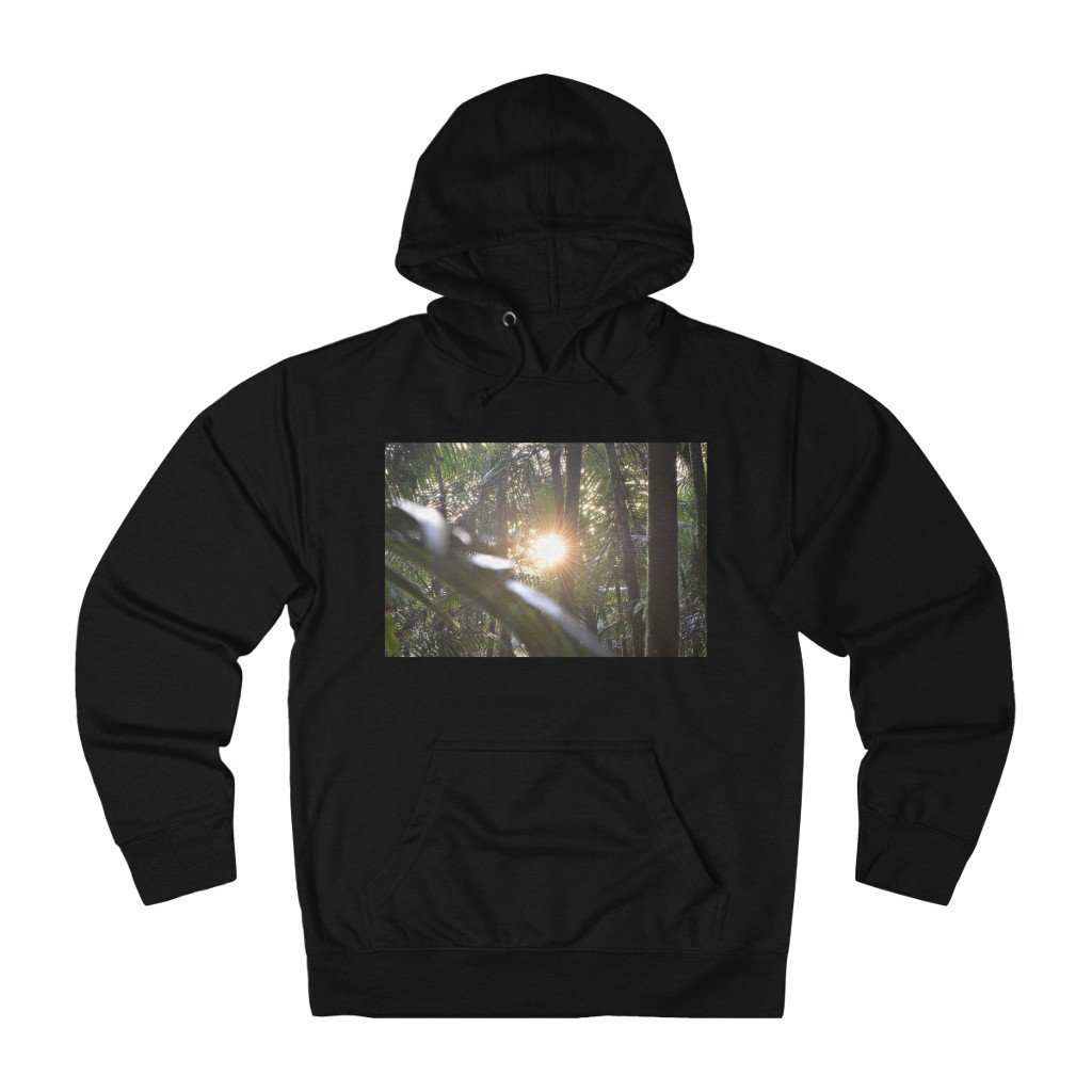 Unisex French Terry Hoodie - Sierra Palm cloud forest sunsert and Paradise path in Tradwinds trail El Yunque PR - Yunque Store