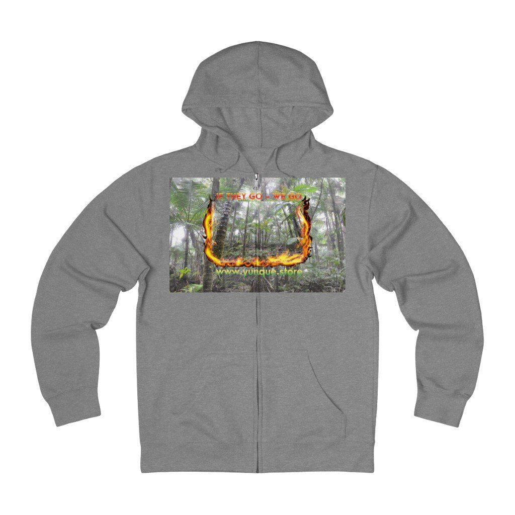 Unisex French Terry Zip Hoodie - Logo with Cloud Forest in El Yunque rain forest PR - Yunque Store