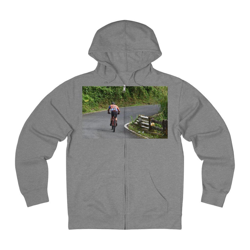Unisex French Terry Zip Hoodie - Three brave bikers climp up to Rio Sabana Park - El Yunque rain forest PR - Yunque Store