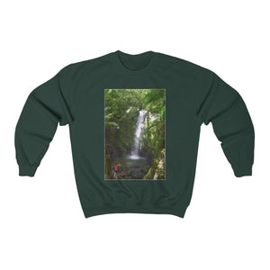Unisex Heavy Blend™ Crewneck Sweatshirt - El Yunque rainforest PR waterfall and cloud forest on back Sweatshirt Printify