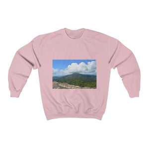 Unisex Heavy Blend™ Crewneck Sweatshirt - with El Yunque and the magic path in the cloud forest / El Yunque y vereda magica en bosque de nubes Sweatshirt Printify