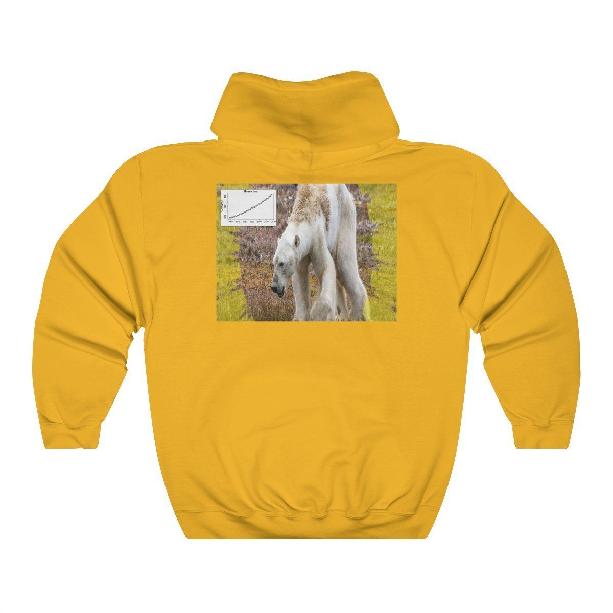 Unisex Heavy Blend™ Hooded Sweatshirt - Gildan 18500 - Greta in UN Climate conferences and starving bear due to early ice melt in back Hoodie Printify
