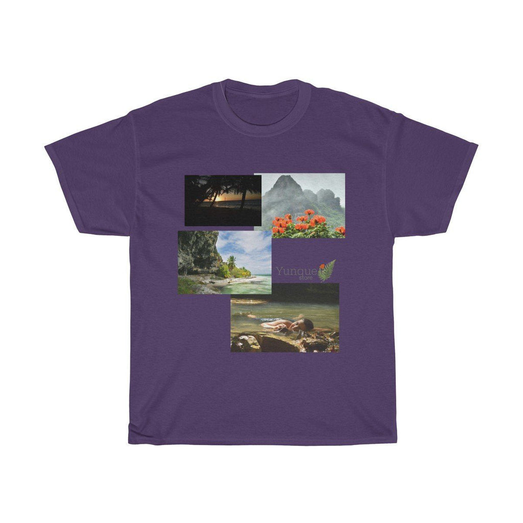 Unisex Heavy Cotton Tee - Gildan 5000 - Views of El Yunque rainforest and Mona Island caves - Puerto Rico T-Shirt Printify