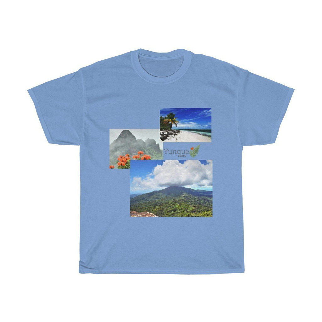 Unisex Heavy Cotton Tee - Gildan 5000 - Views of El Yunque rainforest and Mona Island Puerto Rico T-Shirt Printify