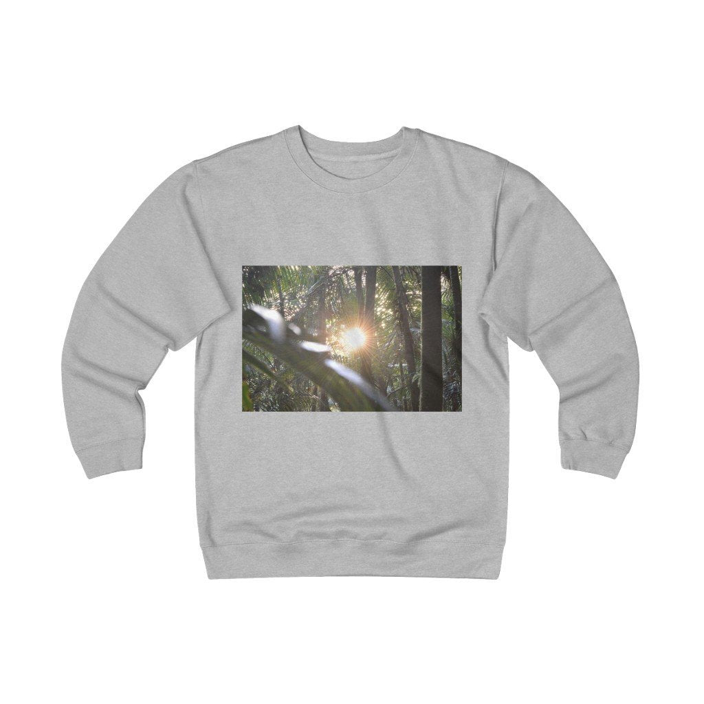 Unisex Heavyweight Fleece Crew - Sierra Palm cloud forest sunsert and Paradise path in Tradwinds trail El Yunque PR - Yunque Store