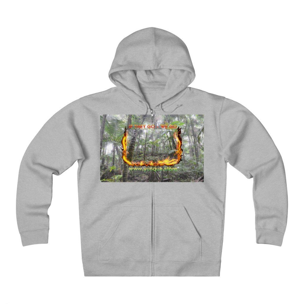 Unisex Heavyweight Fleece Zip Hoodie - Logo with Cloud Forest in El Yunque rain forest PR - Yunque Store