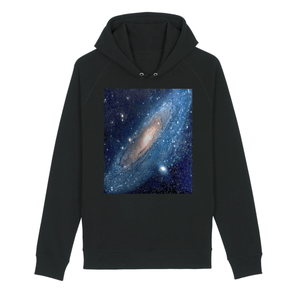 UNISEX ORGANIC HOODIE - SIDER - The Vast Andromeda galaxy - 2.5 million light-years from Earth and the nearest to the Milky Way - Yunque Store