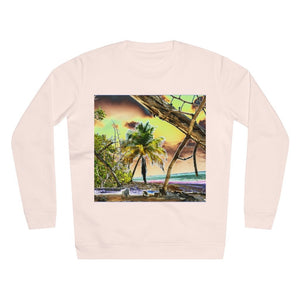 UNISEX Rise Sweatshirt - ON THE BEACH! - MADE IN GERMANY -- Remote & Pristine Mona Island near Puerto Rico - color curves manually modified for special effects - Yunque Store