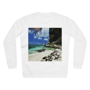 UNISEX Rise Sweatshirt - ON THE BEACH! - MADE IN GERMANY -- Remote & Pristine Mona Island near Puerto Rico - QUIET say as usual - great beach reminders... - Yunque Store