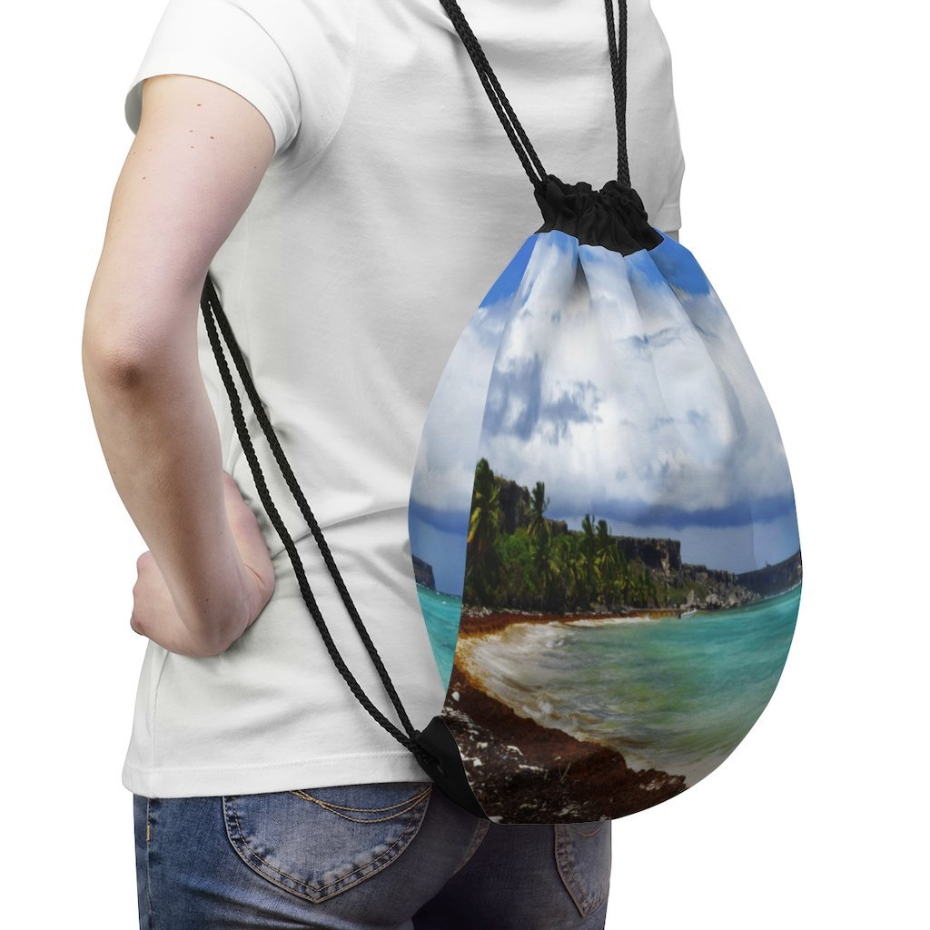 📢 US Made - Inspiring 💘 Nature@Drawstring Bag - Mona island 🌊 Puerto Rico on a stormy day - Yunque Store