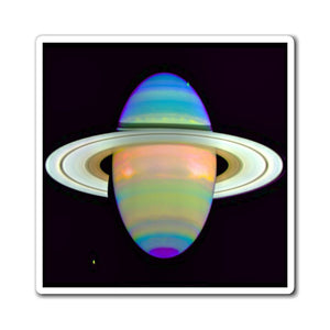 US Made - Magnets - for a Astro@Home experience - HUBLE/NASA - Saturn in Infrared (heat rays) - Yunque Store
