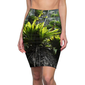 US Made - Women's Pencil Skirt - The deep rain forest - Bromeliads grown on large boulder - El Yunque National Forest Puerto Rico - Nature@Home - Yunque Store