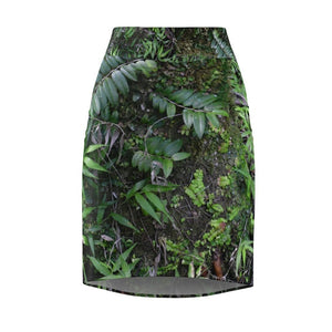 US Made - Women's Pencil Skirt - The deep rain forest - Plant growth on moist Sierra Palm Trunk - El Yunque National Forest Puerto Rico - Nature@Home - Yunque Store