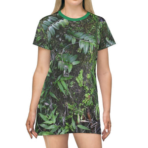 US print - All Over Print T-Shirt Dress - Closeup 🌿🌿 of Sierra Palm tree - 14km Tradewinds trail exploration - El Toro Wilderness - El Yunque rainforest PR - Yunque Store