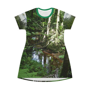 US print - All Over Print T-Shirt Dress - Small Stream in 14km Tradewinds trail exploration - El Toro Wilderness - El Yunque rainforest PR - Yunque Store