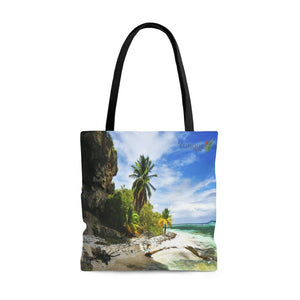 US Print - AOP Tote Bag - Awesome pristine Mona Island Pajaros beach next to cave - 50 miles from Puerto Rico - Yunque Store
