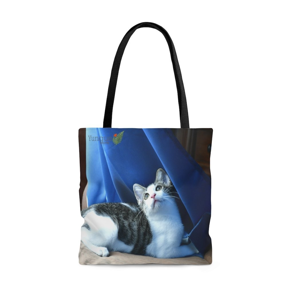 US Print - AOP Tote Bag - Home cat Dante dazzled by the curtains and wind - Puerto Rico - Yunque Store