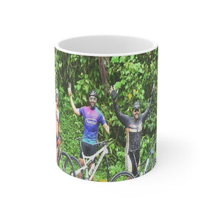 US Print - Mug 11oz - 3 Cyclists celebrate climb to 2K feet El Yunque rainforest Puerto Rico - Yunque Store