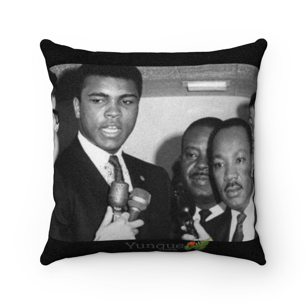 US Print - Sale - Celebrating MLK - with Muhammad Ali - Faux Suede Square Pillow - In Homage of Dr. Martin Luther King Jr. - Nobel Peace prize - 1964 - Yunque Store