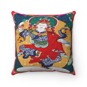 US Print - Spun Polyester Square Pillow - Dancing Buddha - an expression of Cosmic Joy and Oneness - Tibetan - Yunque Store