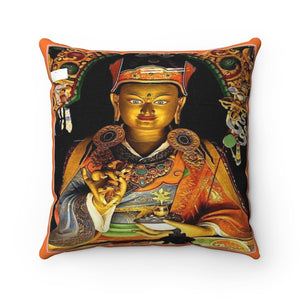 US Print - Spun Polyester Square Pillow - Padmasambhava Guru Rinpoche - Buddhism - Powerful Tibetan Buddha for Blessings - Yunque Store