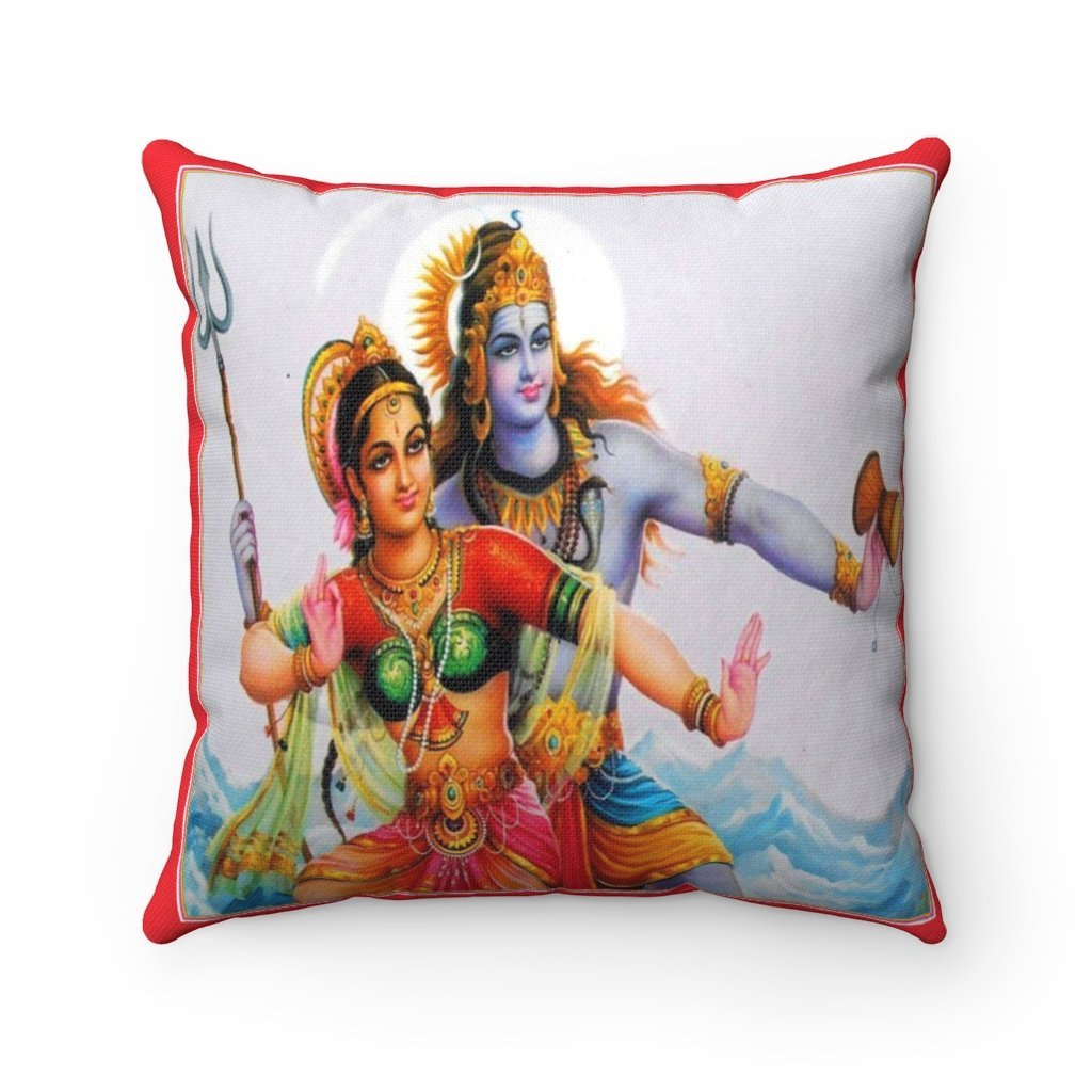 US Print - Spun Polyester Square Pillow - Radha and Krishna - Cosmic Love Expressed as a joint dance - Hinduism - Yunque Store