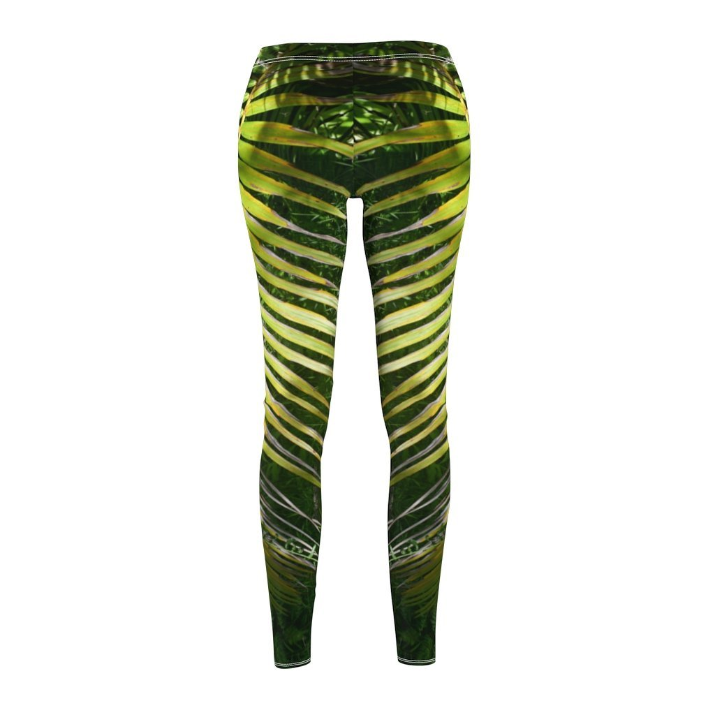 US Print - Women's Cut & Sew Casual Leggings - Deep forest - Sierra Palm Branch 🌴 in El Toro Wilderness Exploration - El Yunque rainforest PR - Yunque Store