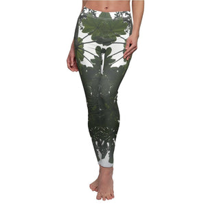 US Print - Women's Cut & Sew Casual Leggings - Deep forest - Yagrumo Tree 🌿in El Toro Wilderness Exploration - El Yunque rainforest PR - Yunque Store