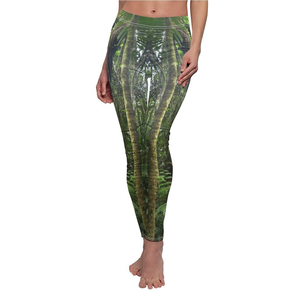 US Print - Women's Cut & Sew Casual Leggings - Deep forest🌴🐸🌿women in El Toro Wilderness Exploration - El Yunque rainforest PR - Yunque Store