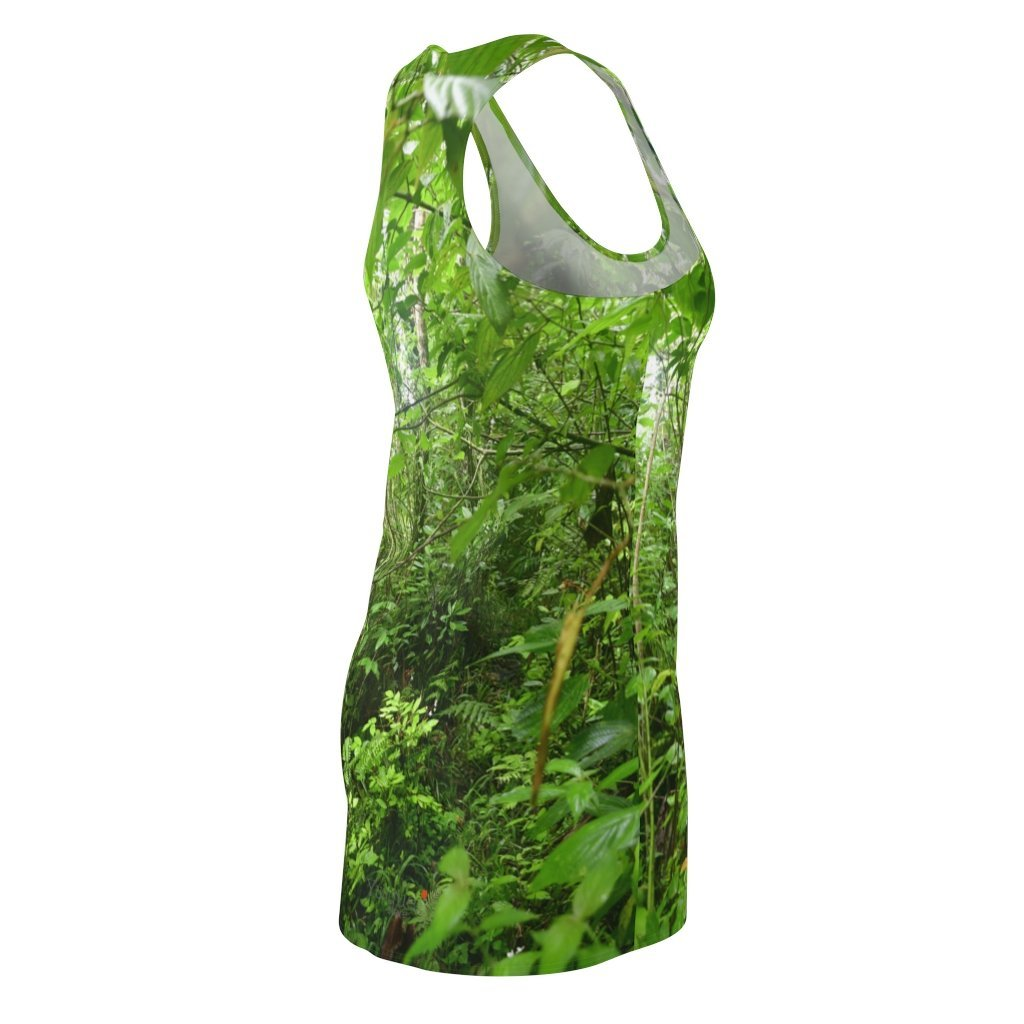 US Print - Women's Cut & Sew Racerback Dress - The deep 🌾🌾 forest in lost trail to El Toro peak - El Yunque rainforest PR - Yunque Store