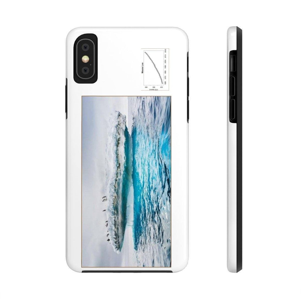USA Print in 2-days - Case Mate Tough Phone Cases - Mouna Loa CO2 (Keeling curve) and Ice poles melting due to Global warming Phone Case Printify