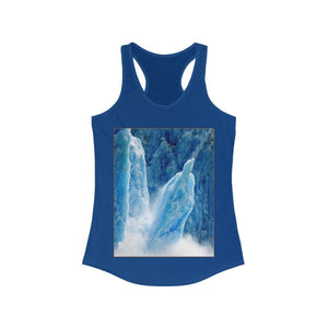 USA Print in 3 days - Women's Ideal Racerback Tank - The Ice Poles melt FAST increasing the ocean level - and the Keeling CO2 curve Tank Top Printify