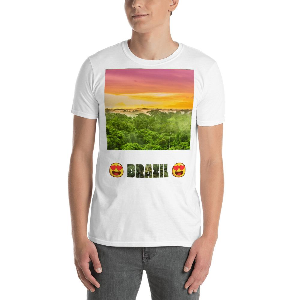 VIVA O BRASIL - Short-Sleeve UNISEX T-Shirt - GILDAN 6400 - 100% cotton - Awesome sunset in the Amazon Jungle Brasil of size 5.5 million km² - Yunque Store