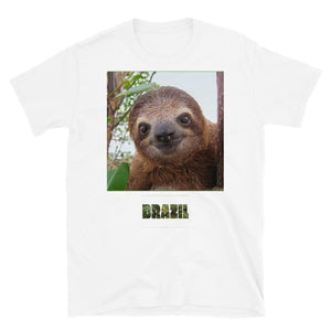 VIVA O BRASIL - Short-Sleeve UNISEX T-Shirt - GILDAN 6400 - 100% cotton - Baby Brown-throated Three-toed sloth in Costa Rica - Yunque Store