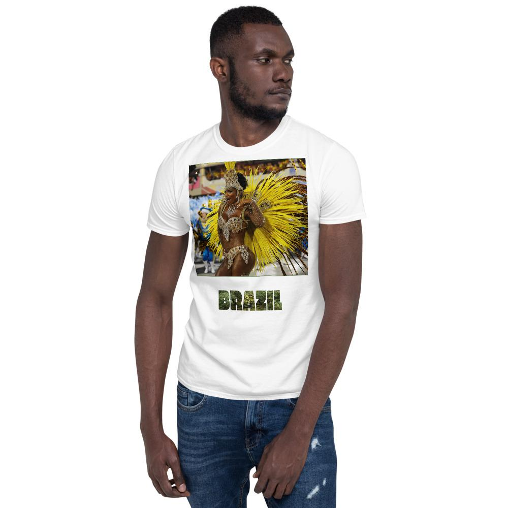 VIVA O BRASIL - Short-Sleeve UNISEX T-Shirt - GILDAN 6400 - 100% cotton - Carnaval Samba Dancer Brazil. - and Brazil with forest letters - Yunque Store