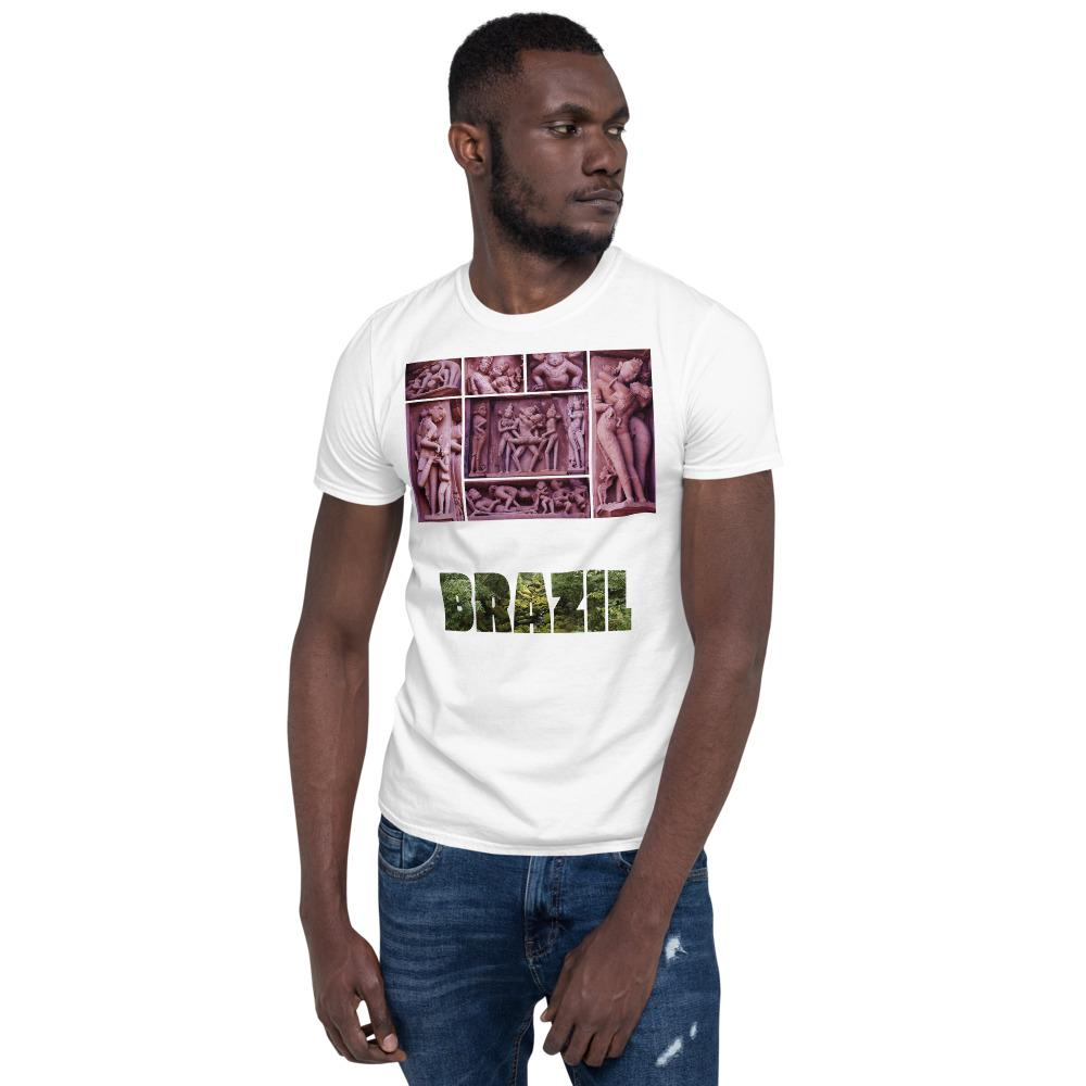VIVA O BRASIL - Short-Sleeve UNISEX T-Shirt - GILDAN 6400 - 100% cotton - Collage from India's Sacred Tantric temples and Brazil with forest letters - Yunque Store