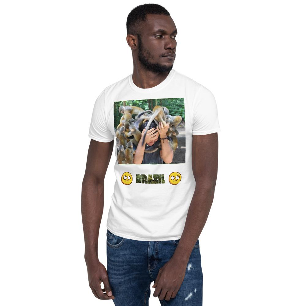 VIVA O BRASIL - Short-Sleeve UNISEX T-Shirt - GILDAN 6400 - 100% cotton - Group of monkeys playfully assaulting a man - Brasil - with 300 species of monkeys! - Yunque Store