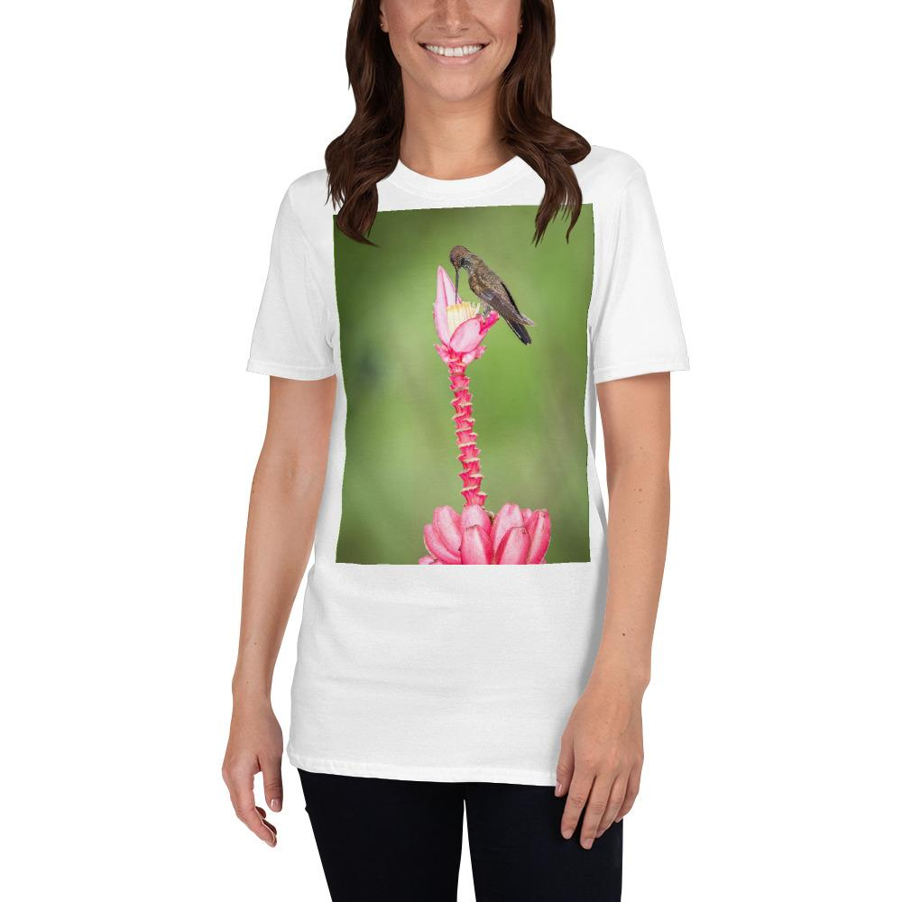 VIVA O BRASIL - Short-Sleeve UNISEX T-Shirt - GILDAN 6400 - 100% cotton - Hummingbird sitting on pink flower, tropical forest, Brazil, - Yunque Store