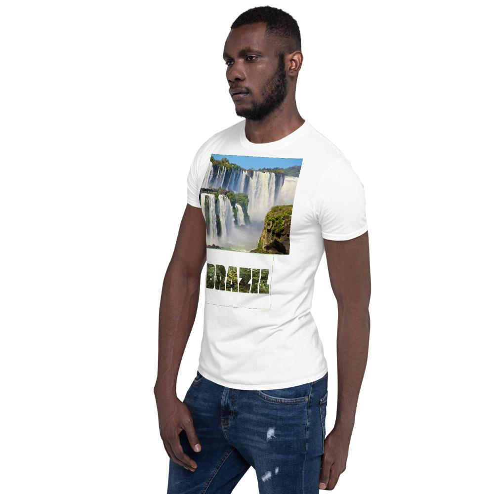 VIVA O BRASIL - Short-Sleeve UNISEX T-Shirt - GILDAN 6400 - 100% cotton - Iguazu Falls as seen from Argentina and Brazil with forest letters - Yunque Store