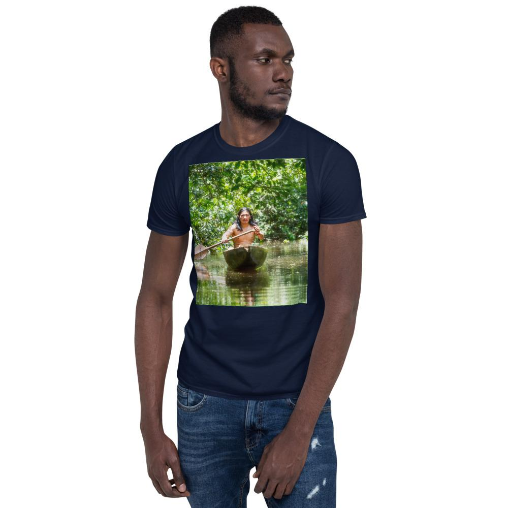 VIVA O BRASIL - Short-Sleeve UNISEX T-Shirt - GILDAN 6400 - 100% cotton - Indigenous Man On Wooden Canoe Chopped From A Single Tree Navigating the Amazonian Jungle - Yunque Store