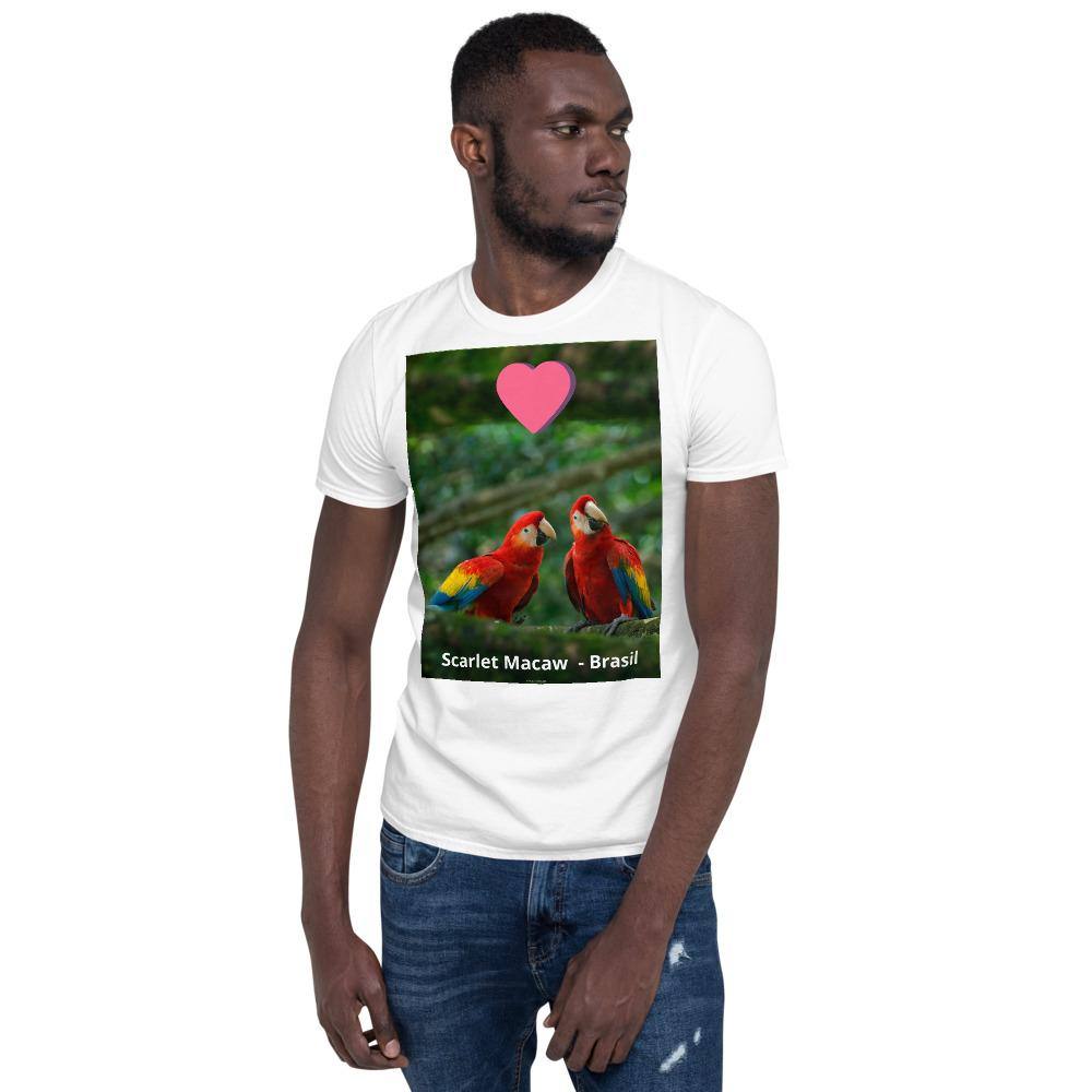 VIVA O BRASIL - Short-Sleeve UNISEX T-Shirt - GILDAN 6400 - 100% cotton - Scarlet Macaw, Ara macao - One species of over 1,800 in Brasil - Yunque Store