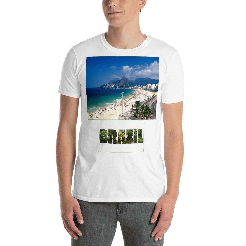 VIVA O BRASIL - Short-Sleeve UNISEX T-Shirt - GILDAN 6400 - 100% cotton - Summer Seashore and Amazing Beauty of Rio de Janeiro - and Brazil with forest letters - Yunque Store