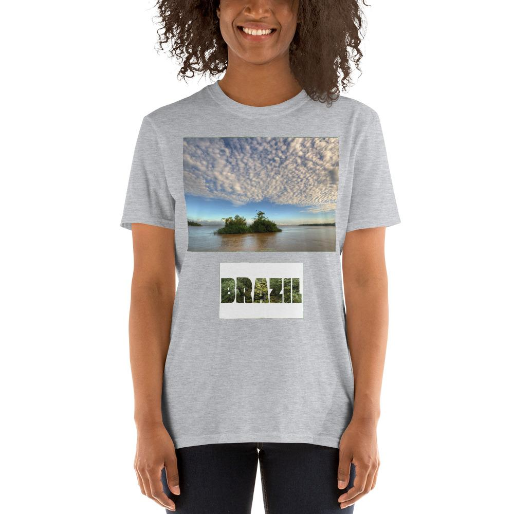 VIVA O BRASIL - Short-Sleeve UNISEX T-Shirt - GILDAN 6400 - 100% cotton - The amazon river in Brasil - 2nd worlds largest river with 1,100 tributaries and covers 3 countries - Yunque Store