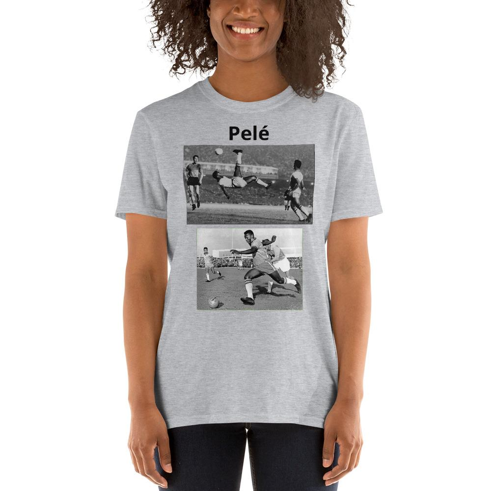 VIVA O BRASIL - Short-Sleeve UNISEX T-Shirt - GILDAN 6400 - 100% cotton - The great Brazilian soccer player Pelé - the one who made Soccer famous and beautiful !! - Yunque Store