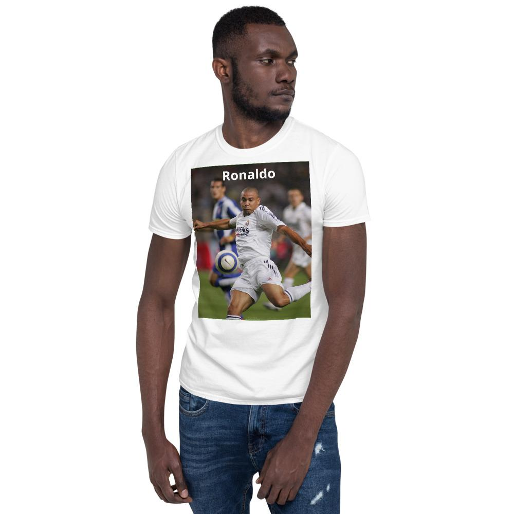 VIVA O BRASIL - Short-Sleeve UNISEX T-Shirt - GILDAN 6400 - 100% cotton - The great Brazilian soccer player Ronaldo of Real Madrid 2004 in Barcelona, Spain - Yunque Store