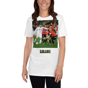 VIVA O BRASIL - Short-Sleeve UNISEX T-Shirt - GILDAN 6400 - 100% cotton - The great soccer player Ronaldo of the Real Madrid against Mallorca - Yunque Store