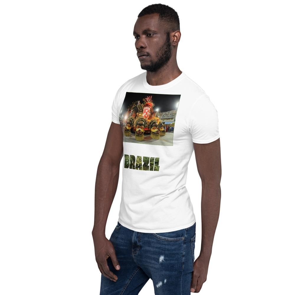 VIVA O BRASIL - Short-Sleeve UNISEX T-Shirt - GLIDAN 6400 - 100% cotton - Carnaval Brazil. - and Brazil with forest letters - Yunque Store