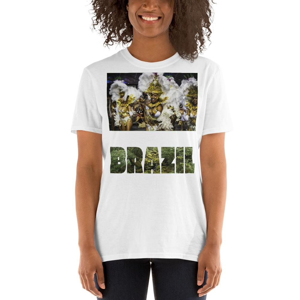 VIVA O BRASIL - Short-Sleeve UNISEX T-Shirt - GLIDAN 6400 - 100% cotton - Carnaval Samba Dancer Brazil. - and Brazil with forest letters - Yunque Store