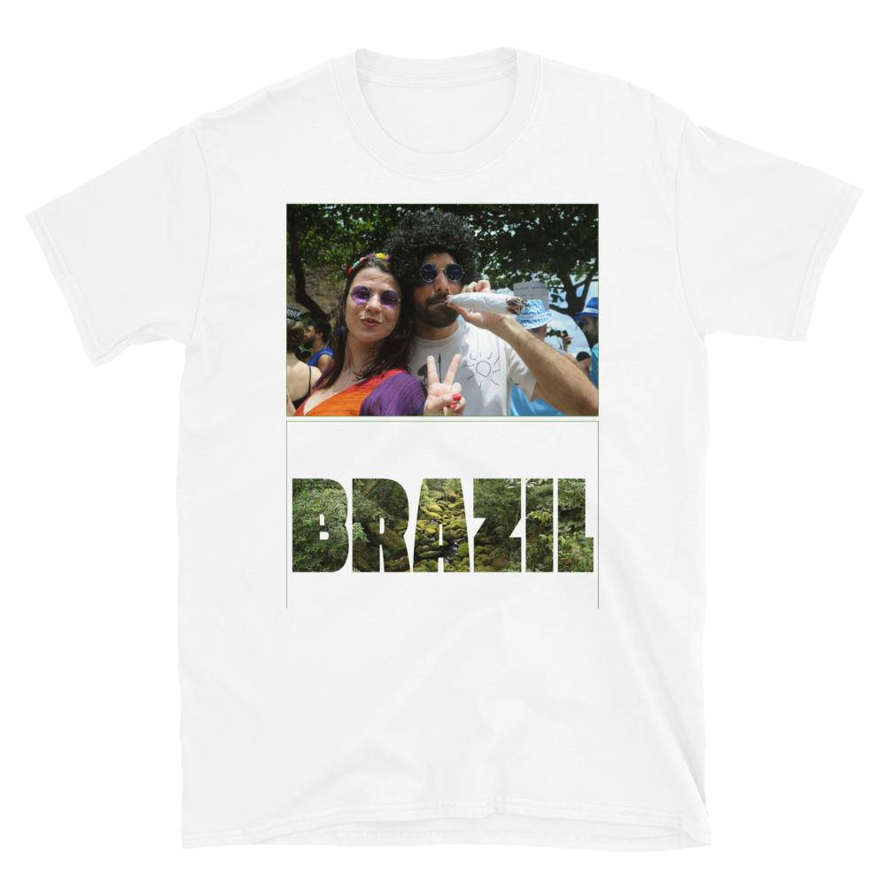 VIVA O BRASIL - Short-Sleeve UNISEX T-Shirt - GLIDAN 6400 - 100% cotton - Carnaval Viewer with large mock marijuana joint - Brazil. - and Brazil with forest letters - Yunque Store