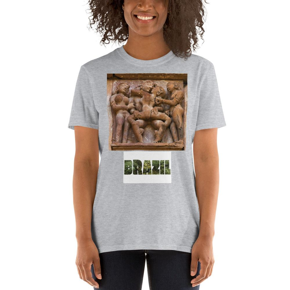 VIVA O BRASIL - Short-Sleeve UNISEX T-Shirt - GLIDAN 6400 - 100% cotton - Passionate Lovers from India's sacred tantric temples - and Brazil with forest letters - Yunque Store